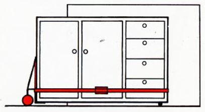 Im Transportwagen: Welle unter Schrank plazieren und Hubroll Modul entfernen.