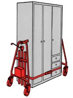 Das Hubroll System ist eine kleine Variante des Bi-Mobil und für den Schranktransport und Möbeltransport geeignet