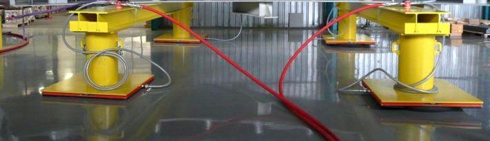 Spezialkonstruktion mit Luftkissen für die betriebsinterne Lastverschiebung