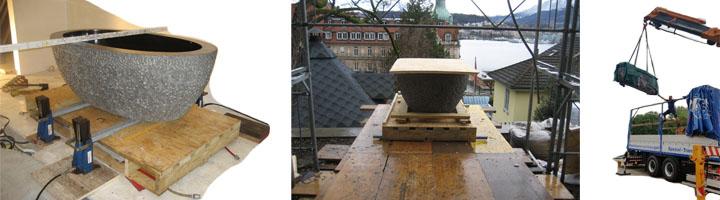 Natrustein, Marmor und Granit verschieben, transportieren und positionieren mit Kran und Hydraulischen Hebegeräten