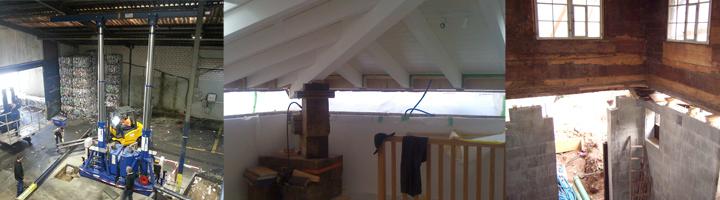 Verschiebung nach Oben: Dachstock Anheben, Hallendach zum Stützentausch oder Keller und Fundament anheben